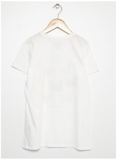 Limon Company Limon Kız Çocuk Baskılı Beyaz Bisiklet Yaka T-Shirt Beyaz